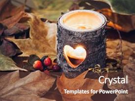 Presentation design consisting of wood candle holder on fall leaves still life background and a tawny brown colored foreground