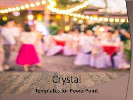 Beautiful PPT layouts featuring wood table with blur party backdrop and a coral colored foreground.