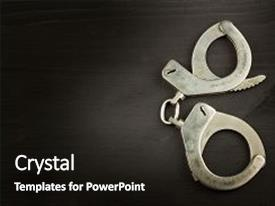 Beautiful PPT layouts featuring wooden board silver handcuffs security backdrop and a dark gray colored foreground.