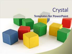Audience pleasing PPT layouts consisting of wooden childen s building blocks backdrop and a sky blue colored foreground.