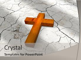 Cool new PPT theme with wooden christian cross lying backdrop and a light gray colored foreground.