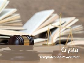 PPT theme having law - wooden gavel and books background and a coral colored foreground