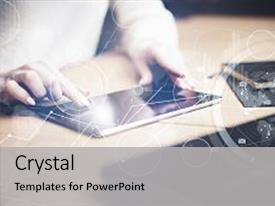 PPT theme enhanced with wooden table young business background and a light gray colored foreground.