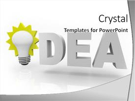 PPT theme with word idea with an illuminated background and a white colored foreground.