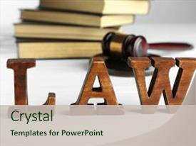 Beautiful theme featuring word law with judges gavel backdrop and a soft green colored foreground.