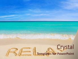 Amazing PPT theme having word relax on beach - vacation backdrop and a lemonade colored foreground.