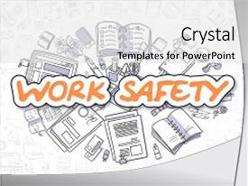 Cool new presentation design with work safety - hand drawn business backdrop and a white colored foreground.