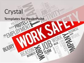 Safety health environment powerpoint templates w safety health ppt theme having work safety word cloud collage background and a light gray colored foreground maxwellsz