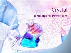 5000 material science powerpoint templates w material science presentation featuring worker equipped with workwear and laboratory chemical material with representation of chemical elements and toneelgroepblik Images
