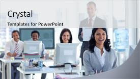 Beautiful PPT theme featuring working in a call center backdrop and a light gray colored foreground.