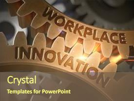 PPT theme with workplace innovation golden metallic cog background and a tawny brown colored foreground.