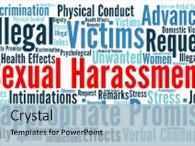 amazing slide set having workplace violence sexual harassment word cloud concept backdrop and a light
