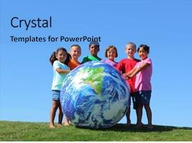 Amazing PPT theme having world globe - kids with large earth ball backdrop and a light blue colored foreground
