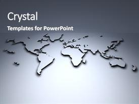 Audience pleasing presentation theme consisting of world map 3d backdrop and a gray colored foreground.