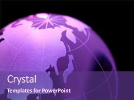Beautiful slide deck featuring world map - earth planet globe for background backdrop and a violet colored foreground.