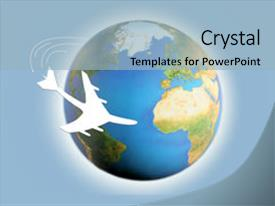 Presentation theme enhanced with world travel - illustration of airplane circling background and a light blue colored foreground.
