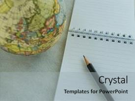 PPT theme having world travel wish list or goal and target concept as pencil on white note paper and small globe on white background background and a light gray colored foreground.