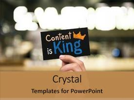 Presentation design featuring writing - phrase content is king written background and a gold colored foreground