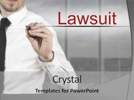 Theme having assurance police - writing lawsuit in the air background and a light gray colored foreground.