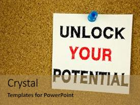 Beautiful PPT theme featuring writing text showing concept of unlock your potential made on sticky note handwritten letters words for self-development improvement concept white cork background with space backdrop and a coral colored foreground.