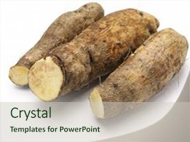 PPT theme having nutrition - yam isolated on white background background and a soft green colored foreground.