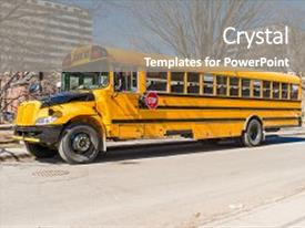 Colorful slide set enhanced with public transportation - yellow school bus in america backdrop and a gray colored foreground.