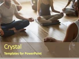 Audience pleasing PPT layouts consisting of yoga - diversity people exercise class relax backdrop and a violet colored foreground