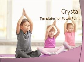 Presentation enhanced with yoga - group of children doing gymnastic background and a cream colored foreground