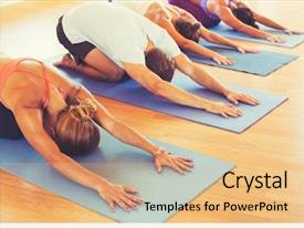 Presentation design with yoga class group of people background and a coral colored foreground