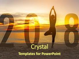 Theme consisting of yoga happy new year card 2018 silhouette woman practicing yoga standing as part of number 2018 near the beach at sunset healthy holiday concept background and a tawny brown colored foreground.