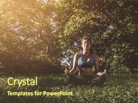 Presentation theme enhanced with yoga in the park outdoor background and a tawny brown colored foreground.