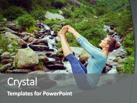 Presentation theme featuring yoga outdoors - woman doing ashtanga background and a gray colored foreground.