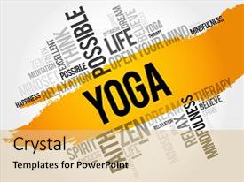 Amazing theme having yoga word cloud collage health backdrop and a yellow colored foreground.