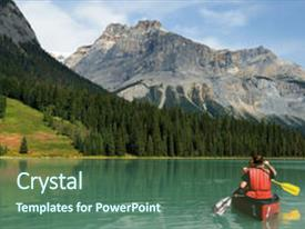 Presentation design consisting of yoho national park canada background and a ocean colored foreground.