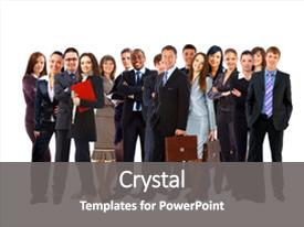 Presentation design with young attractive business people  background and a gray colored foreground.