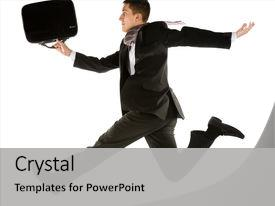 Colorful presentation design enhanced with young businessman with briefcase running backdrop and a light gray colored foreground.