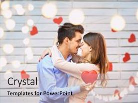 Beautiful presentation featuring young couple on valentine s backdrop and a light gray colored foreground.