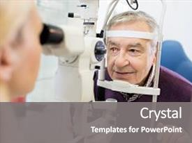 Beautiful PPT layouts featuring young female eye specialist determines backdrop and a  colored foreground.