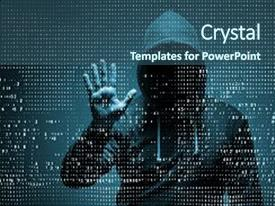 Award winning powerpoint templates themes backgrounds ppt slides ppt layouts enhanced with crime young hacker in data security background and a ocean colored toneelgroepblik Gallery