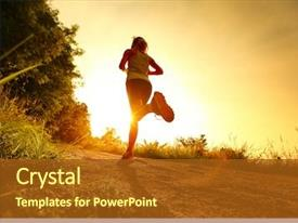 PPT theme having young lady running background and a tawny brown colored foreground