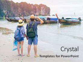 Audience pleasing presentation consisting of young love couple traveler with backpack and hat holding map at the sea with long boat thailand background from ao nang beach krabi traveling in krabi thailand traveler summer concept backdrop and a light gray colored foreground.