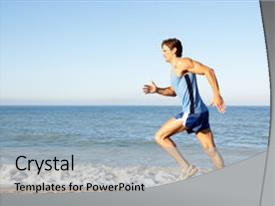 Presentation design with young man in fitness clothing background and a light gray colored foreground.
