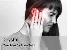 Amazing PPT layouts having woman has a sore ear backdrop and a light gray colored foreground.