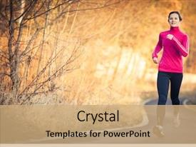 PPT layouts consisting of young woman running outdoors background and a coral colored foreground