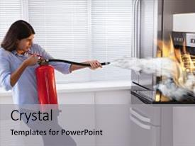 Colorful slides enhanced with young woman using fire extinguisher to put out fire from oven at home backdrop and a light gray colored foreground.