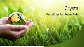 Presentation theme featuring your hands save earth environment background and a blonde colored foreground