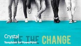 Amazing PPT theme having youth - be the change strategy icon backdrop and a teal colored foreground