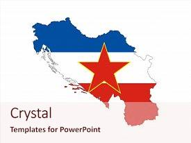 Cool new theme with yugoslavia former country national flag backdrop and a lemonade colored foreground