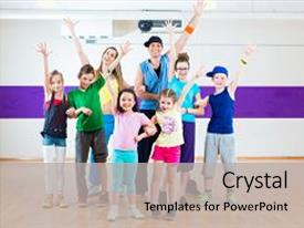 200 zumba powerpoint templates w zumba themed backgrounds cool new slides with zumba fitness class in gym backdrop and a light gray colored foreground toneelgroepblik Gallery