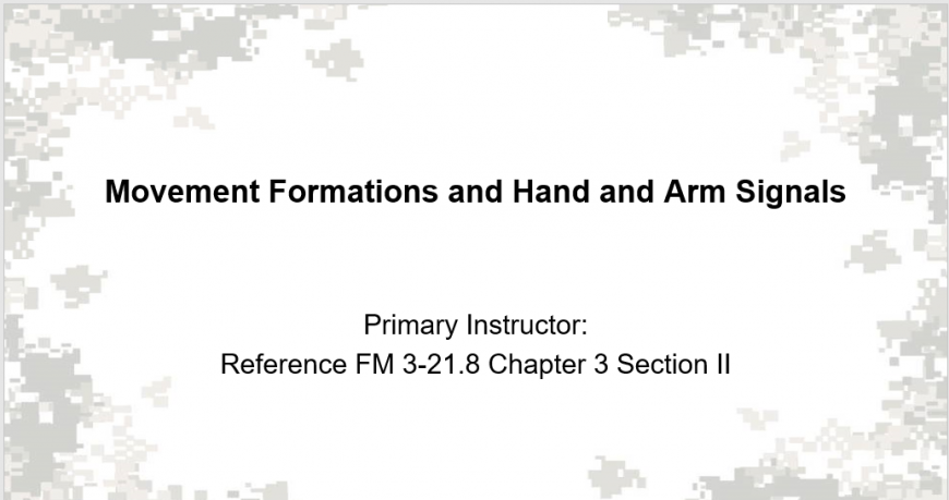 A class on movement formation and hand and arm signals